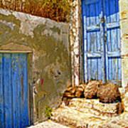 Blue Doors Of Santorini Art Print