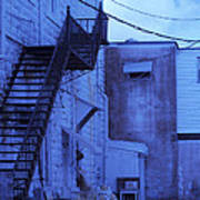 Blue Fire Escape Usa Near Infrared Art Print