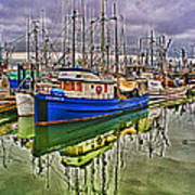 Blue Fishing Boat Hdr Art Print