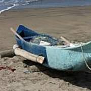 Blue Fishing Boat On The Beach Art Print