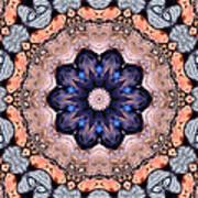 Blue Flora Mandala Art Print
