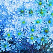 Blue Floral Fantasy Art Print