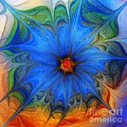 Blue Flower Dressed For Summer Art Print by Karin Kuhlmann