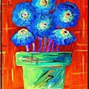 Blue Flowers On Orange Art Print