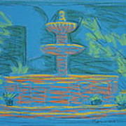 Blue Fountain Art Print by Marcia Meade