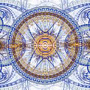 Blue Fractal Inception  Art Print