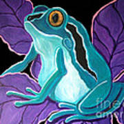 Blue Frog Purple Flower Art Print