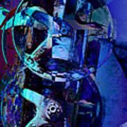 Blue Gears Collage Art Print