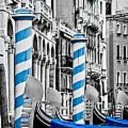 Blue Gondolas Art Print