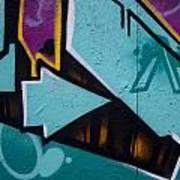 Blue Graffiti Arrow Square Art Print