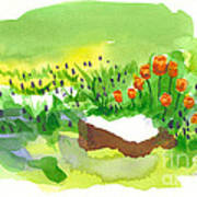 Blue Grape Hyacinths With Red Tulips And Tree Stump Art Print