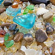 Blue Green Seaglass Coastal Beach Baslee Troutman Art Print by Baslee Troutman