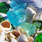 Blue Green Seaglass Shells Coastal Beach Art Print by Baslee Troutman