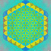 Blue Green Yellow Flower Of Life Art Print