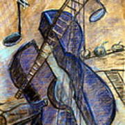 Blue Guitar - About Pablo Picasso Art Print