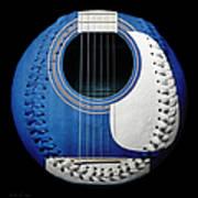 Blue Guitar Baseball White Laces Square Art Print
