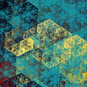 Blue Hexagon Fractal Art 2 Of 3 Art Print