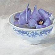 Blue Hibiscus Flower In Chinese Cup Art Print by Anke Classen