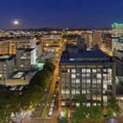 Blue Hour Moonrise II Over City Of Portland Oregon Art Print