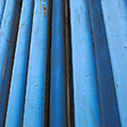 Blue Industrial Pipes Art Print