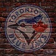 Blue Jays Baseball Graffiti On Brick  Art Print by Movie Poster Prints