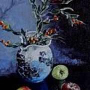 Blue Jug And Apples Art Print