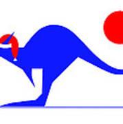 Blue Kangaroo wishes you a Merry Christmas  Art Print