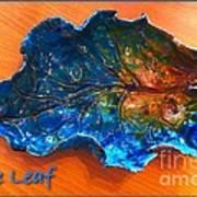 Blue Leaf Ceramic Design 3 Art Print