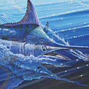 Blue Marlin Strike Off0053 Art Print by Carey Chen