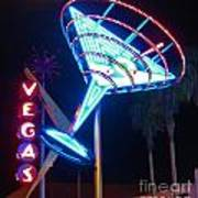 Blue Martini Glass Las Vegas Art Print