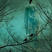 Angel And Crows In A Blue Mist Art Print