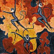 Blue Monkeys No. 8 - Study No. 1 Art Print