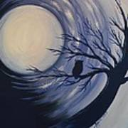 Blue Moon Vortex With Owl Art Print