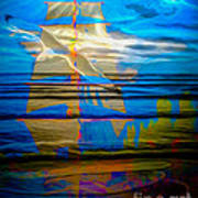 Blue Moonlight With Seagull And Sails Art Print