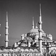 Blue Mosque Black And White Art Print