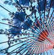 Blue Ornamental Thai Umbrella Art Print