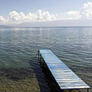 Blue Pier At Lake Ohrid Art Print