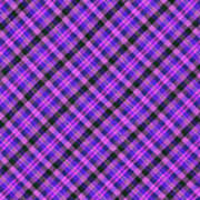 Blue Pink And Black Diagnal Plaid Cloth Background Art Print