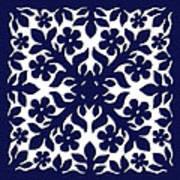 Blue Plumeria Quilt Art Print