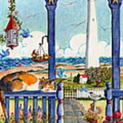 Blue Porch With Cat Art Print