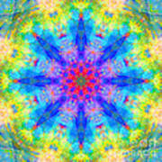 Blue Rainbow Star Mandala Art Print