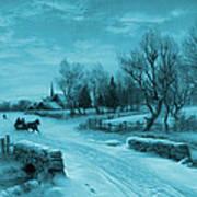 Blue Retro Vintage Rural Winter Scene Art Print