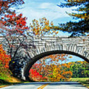 Blue Ridge Autumn Bridge Art Print