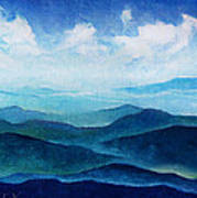 Blue Ridge Blue Skyline Sheep Cloud Art Print
