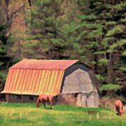 Blue Ridge Horses Art Print
