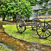 Blue Ridge Parkway Vintage Wagon In The Rain I Print by Dan Carmichael