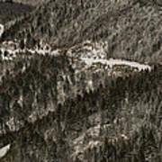 Blue Ridge Parkway With Snow - Aerial Photo Art Print