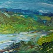 Blue River Landscape II, 1988 Oil On Canvas Art Print