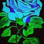 Blue Rose In The Rain Art Print