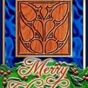 Blue Satin Merry Christmas Art Print
